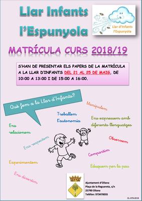 Matriculació llar d'infants l'Espunyola